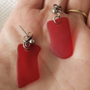 Red tumbled glass earrings   Artisan-made